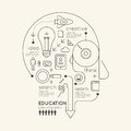 Flat linear infographic education outline pencil head concept vector illustration Royalty Free Stock Photos