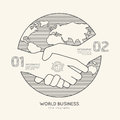 Flat linear Infographic World Business Handshake Outline Success Royalty Free Stock Photo