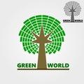 Flat logo business logo eco logo symbol tree color green vector illustration Stock Photo