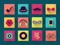 Flat long shadowed hipster icons vector Stock Images