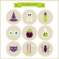 Flat magic witch icons set vector illustration collection of october holiday halloween party colorful circle tricks and Royalty Free Stock Image