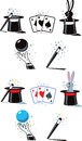 Flat magician icons different for a Stock Photography