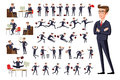 Flat Manager office workplace. Male businessman in dark suit and red tie at work in various poses on white background vec