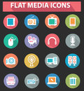Flat media icons colorful version on black background Royalty Free Stock Images