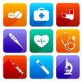 Flat medical icons emergency first aid care set with pill first kit heartbeat isolated vector illustration Stock Image