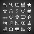 Flat metallic universal icons set vector illustration Royalty Free Stock Image