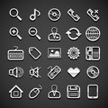 Flat metallic universal icons set vector illustration Royalty Free Stock Photo