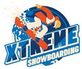 Freeride snowboarder in motion. Sport logo or emblem