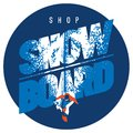 Freeride snowboarder in motion. Sport logo or emblem