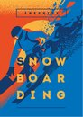 Freeride snowboarder in motion. Sport poster or emblem