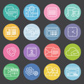 Flat mobile phone icons design style vector big set white outline symbols on colorful circles Stock Photos