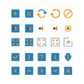 Flat mobile web app icon buttons play pause sound on off style creative modern concept set simple interface reload mute full Stock Photo