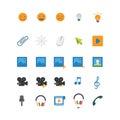 Flat mobile web app icon: smile photo video music