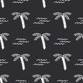 Flat monochrome vector seamless summer pattern. Fabric textile summer pattern. Cute doodle summer pattern with palm tree