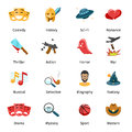 Flat movie genres vector icons Royalty Free Stock Photo