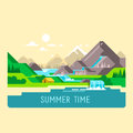 Flat nature landscape illustration with sun, mountains and clouds. Camping in the mountains.