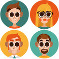 Flat office workers characters. men and blonde woman in glasses Royalty Free Stock Photo