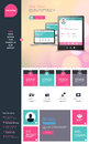 Flat One page website design template. All in one set for website design that includes one page website templates Royalty Free Stock Photo