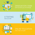 Flat online education e-learning study exam infographic concept