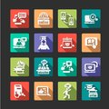 Flat online education icons concept set Royalty Free Stock Photo