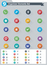 Flat organizer elements icon set of the simple icons Stock Photos