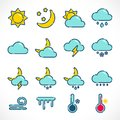 Flat outline weather icons set