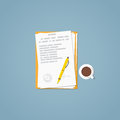 Flat paper document Royalty Free Stock Photo