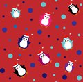 Flat pattern with cute penguins in different color.