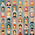 Flat people character avatar icons set face portrait girl and boy vector illustration Royalty Free Stock Photos