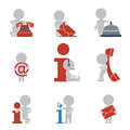 Flat people contacts and information collection of icons with on vector illustration Stock Images