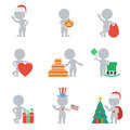 Flat people holidays collection of icons of on holiday vector illustration Stock Photo