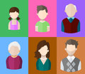 Flat people icons mother, father and their son and daughter, grandpa and grandma. Family. Segment of population