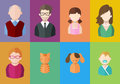 Flat people icons mother, father and their son and daughter