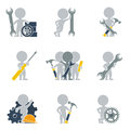 Flat people mechanics collection of icons of on vector illustration Stock Photo