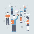 Flat people online social media communications concept icon set