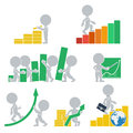 Flat people statistics collection icons with on vector illustration Royalty Free Stock Photography