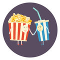 Flat perfect cinema friends couple - popcorn and cola