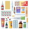 Flat pills. Medicine cartoon drugs, tablets and antibiotics. Medication dose, vitamin capsules icons vector set Royalty Free Stock Photo