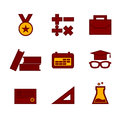 Flat and pixel icon set for education