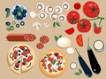 Flat pizza ingredients set entire and cut into pieces: olives, mushrooms, tomato, salami, mozzarella, eggplant. Two