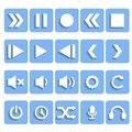 Flat player icons with shadow this is file of eps format Stock Photography