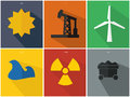 Flat Power Icons Royalty Free Stock Photo