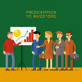 Flat presentation to investors picture the man in the office presents a start up project shows businessmen with briefcases in Stock Photography
