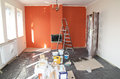 Flat renovation painting the wall and fireplace Stock Photography