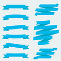 Flat ribbons vector set of blank blue with space for your text Royalty Free Stock Photos
