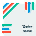 Flat ribbons vector set of corner with space for your text Royalty Free Stock Photography