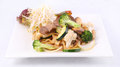 Flat rice noodle stir fried with oyster sauce and fresh vegetabl Stock Photos