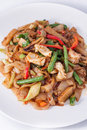 Flat rice noodle stir fried withseafood. Royalty Free Stock Photography
