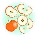 Flat ripe red apple set