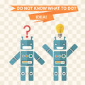 Flat robots background symbolizes the idea inspiration finding ideas the answer to the question Stock Photos